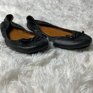Lucky Brand Black with Tie Ballerina Flats Sz 8
